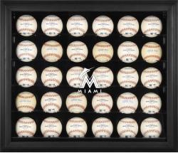 Miami Marlins Logo Black Framed 30-Ball Display Case