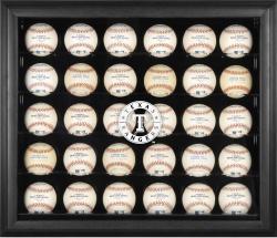 Texas Rangers Logo Black Framed 30-Ball Display Case