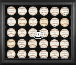 Cincinnati Reds Logo Black Framed 30-Ball Display Case - Mounted Memories