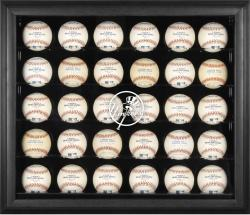 New York Yankees Logo Black Framed 30-Ball Display Case - Mounted Memories