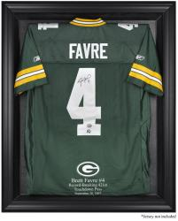 Green Bay Packers Brett Favre Record Breaker Black Framed Jersey Display Case - Mounted Memories