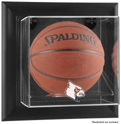 Louisville Cardinals Black Framed Logo Wall-Mountable Basketball Display Case - Mounted Memories