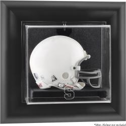 Syracuse Orange Black Framed Wall-Mountable Mini Helmet Display Case