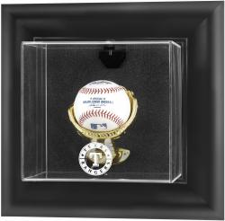 Texas Rangers Black Framed Wall-Mounted Logo Baseball Display Case - Mounted Memories