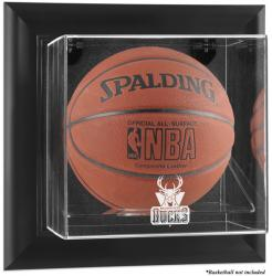 Milwaukee Bucks Black Framed Wall-Mounted Team Logo Basketball Display Case - Mounted Memories