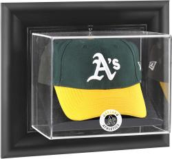 Oakland Athletics Black Framed Wall-Mounted Logo Cap Display Case - Mounted Memories