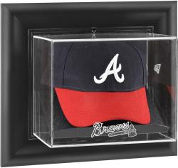 Atlanta Braves Black Framed Wall-Mounted Logo Cap Display Case - Mounted Memories