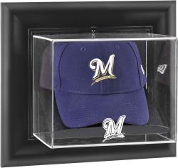 Milwaukee Brewers Black Framed Wall-Mounted Logo Cap Display Case - Mounted Memories