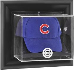 Chicago Cubs Black Framed Wall-Mounted Logo Cap Display Case - Mounted Memories