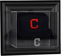 Cleveland Indians Black Framed Wall-Mounted Logo Cap Display Case - Mounted Memories
