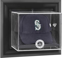 Seattle Mariners Black Framed Wall-Mounted Logo Cap Display Case - Mounted Memories