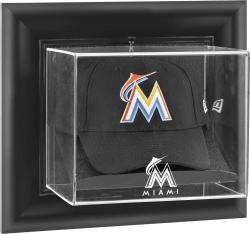 Miami Marlins Black Framed Wall-Mounted Logo Cap Display Case - Mounted Memories