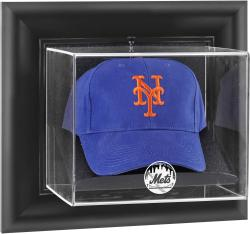 New York Mets Black Framed Wall-Mounted Logo Cap Display Case - Mounted Memories