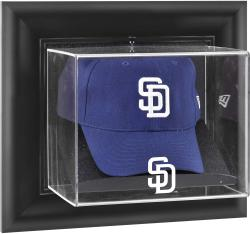San Diego Padres Black Framed Wall-Mounted Logo Cap Display Case - Mounted Memories