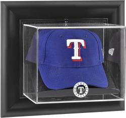 Texas Rangers Black Framed Wall-Mounted Logo Cap Display Case - Mounted Memories