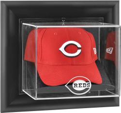 Cincinnati Reds Black Framed Wall-Mounted Logo Cap Display Case