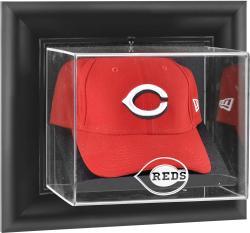 Cincinnati Reds Black Framed Wall-Mounted Logo Cap Display Case