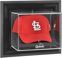 St. Louis Cardinals Black Framed Wall-Mounted Logo Cap Display Case