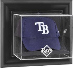 Tampa Bay Rays Black Framed Wall-Mounted Logo Cap Display Case - Mounted Memories