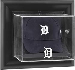 Detroit Tigers Black Framed Wall-Mounted Logo Cap Display Case - Mounted Memories