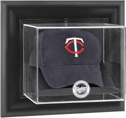 Minnesota Twins Black Framed Wall-Mounted Logo Cap Display Case - Mounted Memories