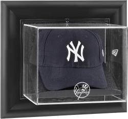 New York Yankees Black Framed Wall-Mounted Logo Cap Display Case - Mounted Memories