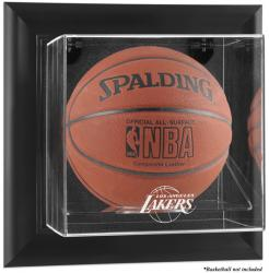 Los Angeles Lakers Black Framed Wall-Mounted Team Logo Basketball Display Case - Mounted Memories