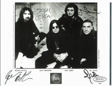 Black Sabbath (4) Ozzy, Butler, Iommi, Ward Signed 8.5x11 Publicity Photo BAS