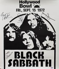 Black Sabbath (4) Ozzy Osbourne Signed 18x20.75 1972 Concert Poster PSA #AB03323