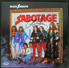 Black Sabbath (4) Ozzy Osbourne Signed Sabotage Album Cover W/ Vinyl PSA AB03432