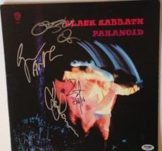 BLACK SABBATH Ozzy Osbourne + Group SIGNED PARANOID ALBUM LP w/ PSA DNA Loa