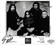 Black Sabbath Ozzy Osbourne Tony Iommi Geezer Butler & Bill Ward Signed 8x10 Psa