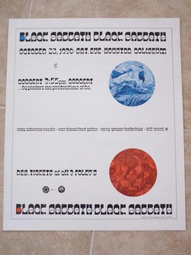 """BLACK SABBATH Rare Original 1976 Technical Ecstasy Houston Tour Poster 17""""x20.5"""