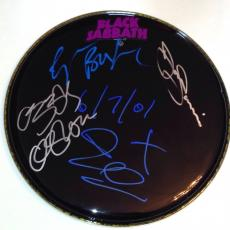 BLACK SABBATH w/ Ozzy Osbourne GROUP Signed DRUMHEAD w/ PSA DNA Loa