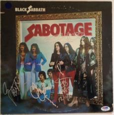 BLACK SABBATH w/ Ozzy Osbourne GROUP Signed SABOTAGE ALBUM LP w/ PSA DNA Loa