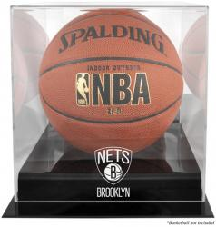 NBA Brooklyn Nets Blackbase Logo Basketball Display Case with Mirror Back - Mounted Memories