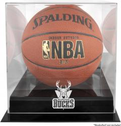 Milwaukee Bucks Blackbase Team Logo Basketball Display Case with Mirrored Back