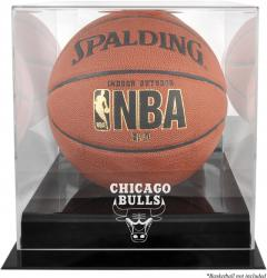 Chicago Bulls Blackbase Team Logo Basketball Display Case with Mirrored Back