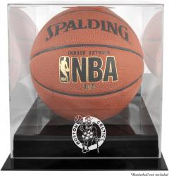 Boston Celtics Blackbase Team Logo Basketball Display Case with Mirrored Back - Mounted Memories