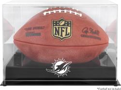 Miami Dolphins Black Base Football Display Case with Mirror Back - Mounted Memories