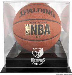 Memphis Grizzlies Blackbase Team Logo Basketball Display Case with Mirrored Back