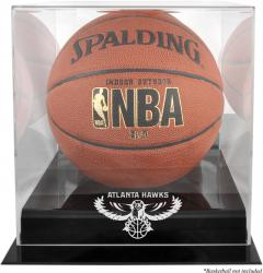 Atlanta Hawks Blackbase Team Logo Basketball Display Case with Mirrored Back