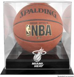 Miami Heat Blackbase Team Logo Basketball Display Case with Mirrored Back