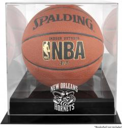 New Orleans Hornets Blackbase Team Logo Basketball Display Case with Mirrored Back