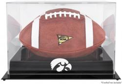 Iowa Hawkeyes Blackbase Logo Football Display Case with Mirror Back - Mounted Memories