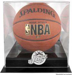 Utah Jazz Blackbase Team Logo Basketball Display Case with Mirrored Back