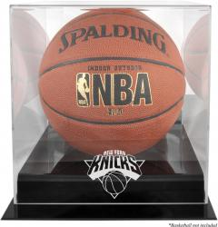 New York Knicks Blackbase Team Logo Basketball Display Case with Mirrored Back - Mounted Memories