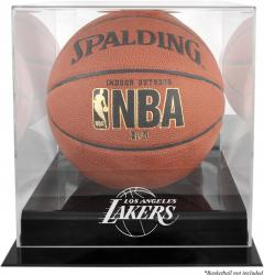 Los Angeles Lakers Black Base Logo Basketball Display Case with Mirror Back - Mounted Memories