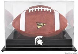 Michigan State Spartans Black Base Team Logo Football Display Case with Mirror Back - Mounted Memories