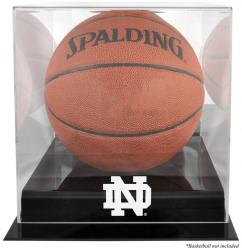 Notre Dame Fighting Irish Black Base Basketball Display Case with Mirrored Back  - Mounted Memories
